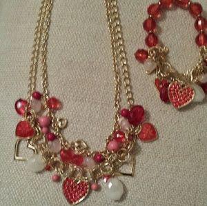 Valentines Day Necklace and Bracelet Set